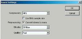 Рис. 4. Диалоговое окно Sound Settings для MP3-компрессии
