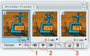 Рис. 4. Совмещаем все элементы и открываем окно анимации: 1— выпадающее меню длительности кадра; 2— кнопка просмотра анимации; 3— пиктограмма, с помощью которой вы копируете текущий кадр для внесения в него изменений
