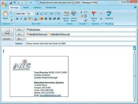 Экран. Информация о присутствии в Outlook 2008