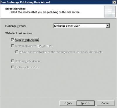 Экран 1. Выбор версии Exchange и службы для публикации