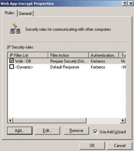 Экран 2. Диалоговое окно свойств WebAppEncrypt Properties свыбранным фильтром Web— DB