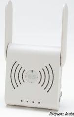 Рисунок 3. Концепция удаленных точек доступа, предлагаемая Aruba, позволяет использовать централизованное администрирование корпоративных ИТ для управления приложениями и функциями WLAN, предоставляемыми мобильным сотрудникам (на изображении портативное устройство Aruba-65 размером с блюдце).