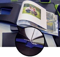 Профессиональный вид альбому придаёт каптал, закреплённый на корешке скреплённого блока