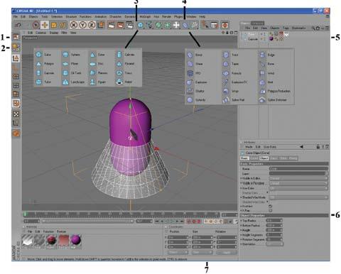 Рис. 2. Расположение основных элементов управления программы Cinema 4D 10-й версии. Показан вид окна в режиме Standard