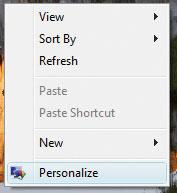 Привычную по Windows XP ссылку «Свойства экрана» заменила новая настройка «Персонализация»