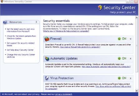 Рис. 1. Компонент Security Center, введенный с пакетом обновлений Service Pack 2, помог закрыть от злоумышленников основные части XP