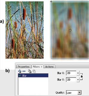 Рис. 3. Использование фильтра Blur: а — исходная и «отфильтрованная» картинки; b — панель Filters