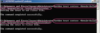 Рисунок 4. Фильтрация SID доверительных отношений деактивируется с помощью командной строки.