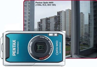 Pentax Пыле- и водонепроницаемый корпус, Широкоугольный объектив с 5-кратным увеличением, Посредственный дисплей