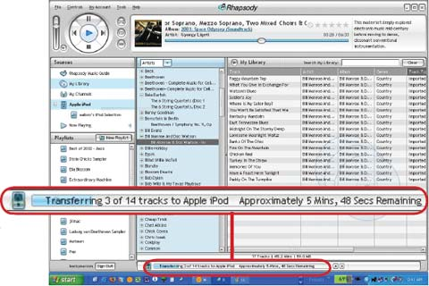 Рис. 6. Подключите свой iPod или любой другой музыкальный плеер к сервису загрузки музыки Rhapsody.