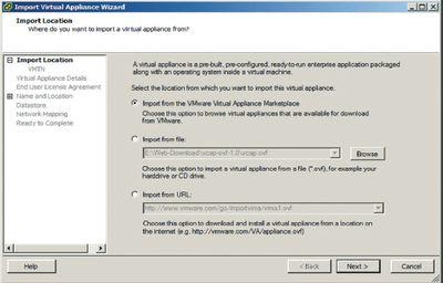 Рисунок 2. Импорт виртуального устройства в Virtual Infrastructure от VMware осуществляется с помощью мастера.