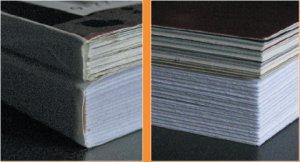 Рис. 5. Результат работы PB-501 в сравнении с журналом, скреплённым на профессиональном оборудовании и подрезанным с трёх сторон