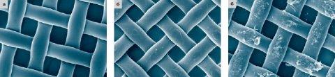 Рис. 7. Новая ткань (а); ткань после механической обработки соответствующей абразивной пастой (б); повреждения ткани в результате обработки средствами бытовой химии (в)