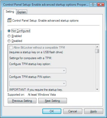 Экран 2. Окно Control Panel Setup: Enable Advanced Startup Options