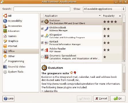 Рис. 4. Диалоговое окно установки и удаления приложений (Add/Remove Applications) в Ubuntu помогает списывать и устанавливать бесплатное ПО