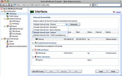 Web-интерфейс позволяет управлять WinRoute Firewall с любой платформы