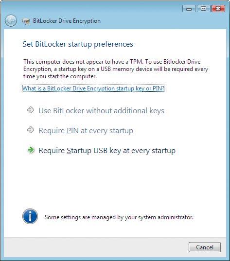 Экран 4. Окно настроек Set BitLocker