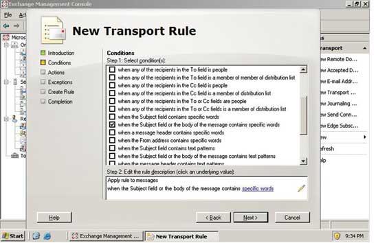 Экран 5. Задание условий в правиле транспортировки