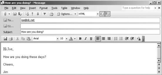 Рис. 4. Пиктограммы Encrypt и Sign в сообщении Outlook 2003.