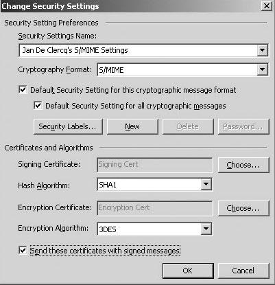 Рис. 3. Диалоговое окно Outlook 2003 Change Security Settings.