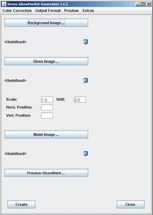 Background Image — растровое изображение, на котором должны появиться метки GlossMark. Программа распознаёт форматы TIFF и JPEG. Gloss Image — однобитовое изображение, определяющее форму и размеры меток. Несколько дополнительных параметров позволяют масштабировать и смещать его на фоновом изображении. Если метки нужны не на всём фоновом изображении, то часть его можно защитить с помощью однобитового изображения-маски Mask Image