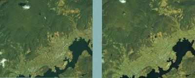 Пример стереопары — двух снимков одного и того же участка, снятых под разными углами