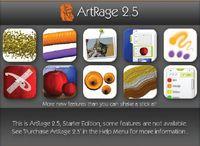 Загрузочная заставка (splash) ArtRage Starter Edition извещает о том, что в этой редакции многие инструменты и функции недоступны. Кроме того, эта же заставка является краткой интерактивной иллюстрацией новых возможностей ArtRage