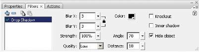 Рис. 1. Панель Filters для фильтра Drop Shadow