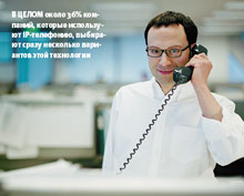 В целом около 36% компаний, которые используют IP-телефонию, выбирают сразу несколько вариантов этой технологии