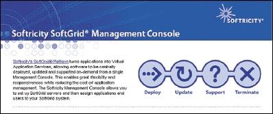 Рисунок 4. Управляющая консоль SoftGrid предназначена для управления на протяжении всего периода использования потоковых приложений.