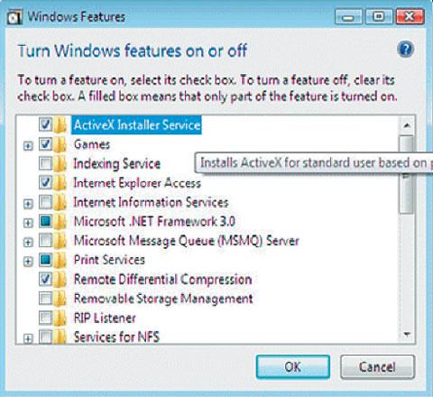 Экран 1. Включение ActiveX Installer Service