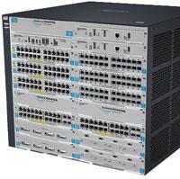 ProCurve Switch 8212zl— 12‑слотовый модульный коммутатор высотой 9U, предназначенный для создания корпоративных сетей, работает на сетевых уровнях от второго до четвертого иобладает суммарной производительностью 692 Гбит/с