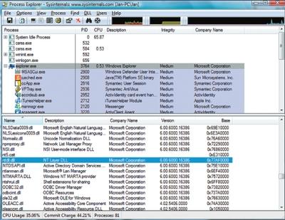 Экран 4. Наблюдение за работой ASLR с помощью Sysinternals Process Explorer