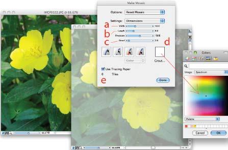 Рис. 3. Меню Make mosaic: a — высота плитки; b — ширина; c — «межплиточное» расстояние; d — вызов палитры для смены цвета фона; e — кнопка с независимой фиксацией Use Tracing Paper, позволяющей «перехватывать» выбираемый цвет из исходного изображения
