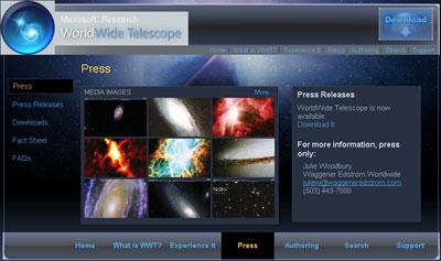 В проекте WorldWide Telescope собрана информация примерно о 300 звездных системах