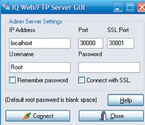 Окно авторизации при запуске графической оболочки IQ Web FTP Server: можно обойтись и без пароля