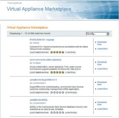 Рисунок 1. На рынке виртуальных устройств VMware предлагает пакеты из предварительно настроенных, готовых к применению виртуальных устройств.