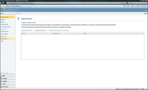 Экран 7. Параметры самообслуживания для мобильных устройств вOWA