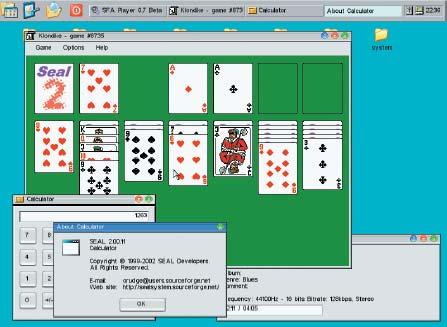 DOSBox подходит не только для игр, но и для экспериментов с различным ПО. На снимке показан Рабочий стол Seal2, работающий во FreeDOS и занимающий всего 2 Мбайт