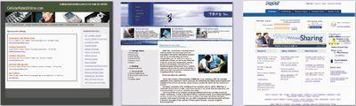 Рис. 2. Примеры Web-страниц для трех категорий поддельных сайтов: Web-спам, искусственно сфабрикованный сайт и мистифицирующий сайт