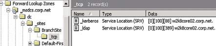 Экран 1. Записи локатора DC для сайта