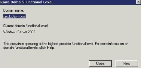 Экран 2. Проверка функционального уровня домена