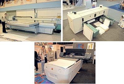 Признанные лидеры в сегменте планшетных принтеров— Inca Digital, Gandinnovations и NUR. На снимках слева направо — Inca Spyder 150 UV, Gandinnovations 3150 UV, Nur Tempo Q