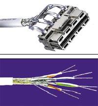 Рисунок 8. AMP CO Plus позволяет «охватить» в рамках одной системы на базе кабеля PiMF классы линий D, E и F, использовать вставки. Рисунок 9. Четырехпарный кабель PiMF Tyco Категории 7 от AMP Netconnect в оболочке LSZH.
