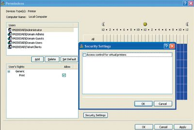 Экран 1. Окно задания правил доступа к принтерам