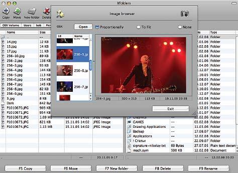 В программе XFolders реализованы лишь базовые функции двухпанельного файлового менеджера, но зато есть встроенная программа просмотра изображений