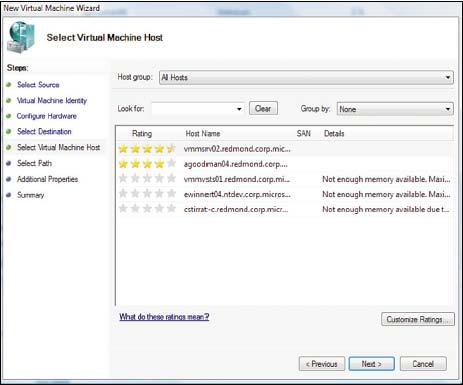 Рисунок 2. Microsoft интегрировала в свой System Center Virtual Machine Manager  поддержку миграции.