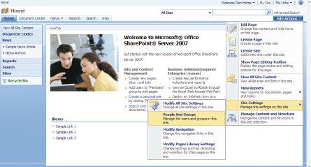 Экран 2 . Стандартная домашняя страница, меню People And Group
