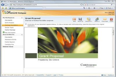 OfficeLive WorkSpace— средство предварительного просмотра файлов позволяет просматривать вбраузере файлы Microsoft Office, например, как вданном случае, слайд PowerPoint
