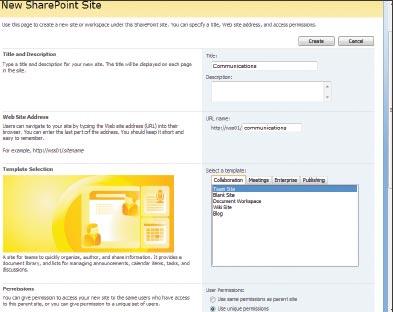 Экран 3 . Страница нового сайта SharePoint